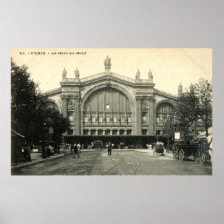La Gare du Nord Paris, Frankreich c1905 Vintag Poster
