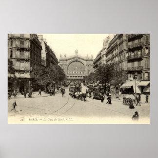 La Gare du Nord Paris, Frankreich c1905 Vintag Posterdrucke