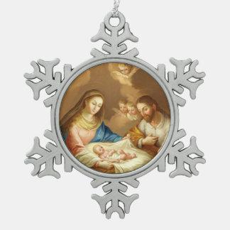 La Natividad Schneeflocken Zinn-Ornament
