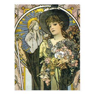 """La Tosca"" (Detail) durch Alphonse Mucha Postkarte"