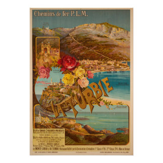 La Turbie sur Monte Carlo Vintages Reise-Plakat Poster