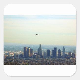 LA und Hubschrauber Quadratischer Aufkleber