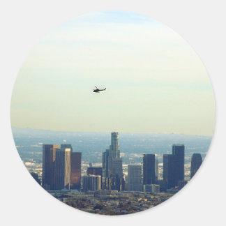 LA und Hubschrauber Runder Aufkleber