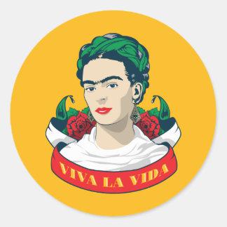 La Vida Frida Kahlos   Viva Runder Aufkleber
