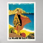 """""""La Vintages Reise-Plakat Des Strand Calvi"""""""