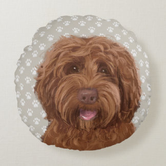 LABRADOODLE LOVE Round Pillow