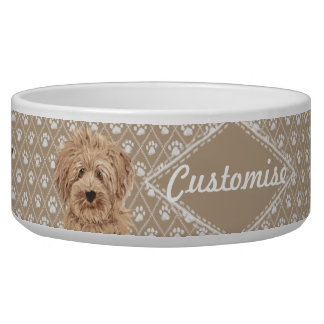 ©LabraDoodleFriends Dog Beige Labradoodle Bowl