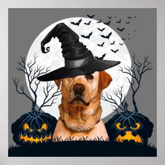 Labrador-Halloween-Kürbis-Flecken Poster