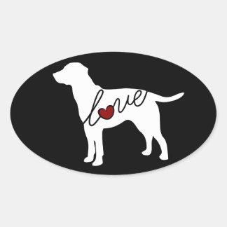 Labrador-Liebe Ovaler Aufkleber