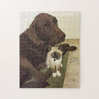 Labrador retriever und ein Kätzchen-Freund Puzzle