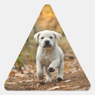 Labrador retriever-Welpe Dreieckiger Aufkleber