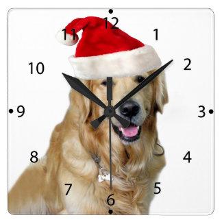 Labrador Weihnachtensankt Klaus Hundsankt Quadratische Wanduhr