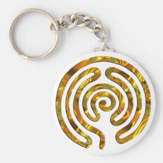 Labyrinth GOLD | machen Ihren eigenen Hintergrund Standard Runder Schlüsselanhänger