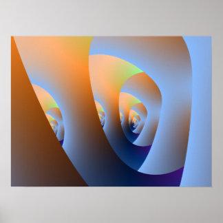 Labyrinth im orange und blauen Plakat