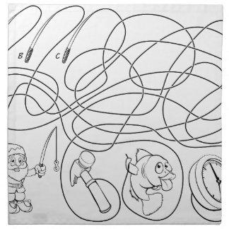 Labyrinth zeichnet das Spiel der Kinder Serviette