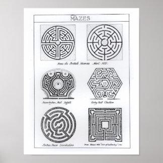 Labyrinthe, c.1900 (Stich) (b/w Foto) Poster