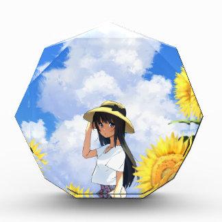Lächeln auf den Sonnenblume-Gebieten Acryl Auszeichnung
