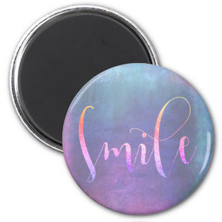 Lächeln-blaue rosa Rose graue Ombre Ermutigung Runder Magnet 5,7 Cm