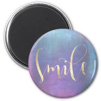 Lächeln-blaue rosa Rosen-aquamarine GoldOmbre Runder Magnet 5,7 Cm