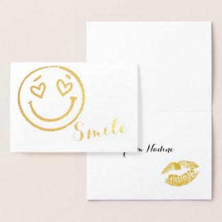 Lächeln Emoji Goldfolienkarte Folienkarte