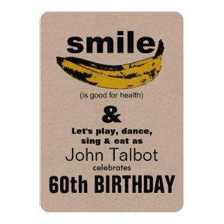 Lächeln ist gute 60. Geburtstags-Party Einladung