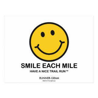 """Lächeln jede Meile/""""Nizza Spur Lauf"""" Läufer-Gramm Postkarte"""