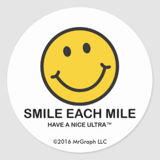 """Lächeln jede Meile/""""Nizza ultra"""" Aufkleber"""
