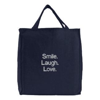 Lächeln Lachen Liebe Gestickte Tasche