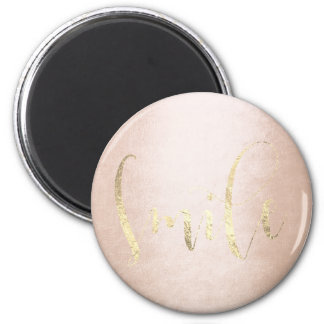 Lächeln-Rosen-GoldFoxier Rosa erröten Ermutigung Runder Magnet 5,7 Cm