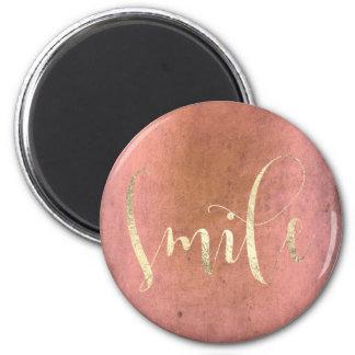 Lächeln-Rosen-GoldFoxier rosa Grungy Ermutigung Runder Magnet 5,7 Cm