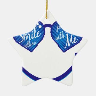 lächeln Sie einfach mit mir, Liebe und glases Keramik Ornament