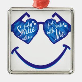 lächeln Sie einfach mit mir, Liebe und glases Quadratisches Silberfarbenes Ornament
