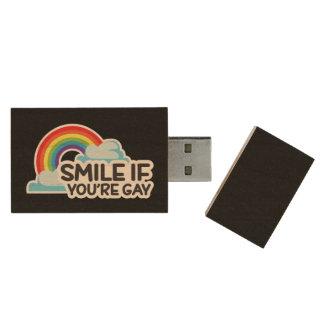 Lächeln Sie, wenn Sie homosexueller Stolz des Holz USB Stick