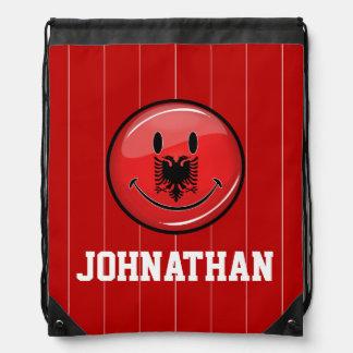 Lächelnde albanische Flagge Turnbeutel