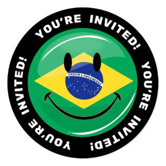 Lächelnde brasilianische Flagge Quadratische 13,3 Cm Einladungskarte