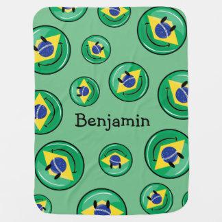 Lächelnde brasilianische Flagge Kinderwagendecke