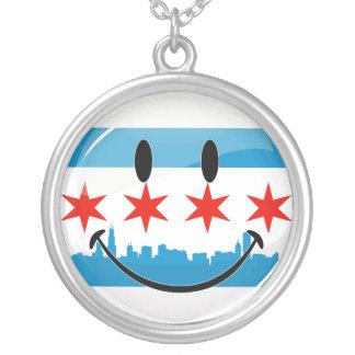 Lächelnde Chicago-Flagge Versilberte Kette