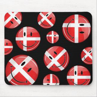 Lächelnde Dänemark-Dänische-Flagge Mousepads