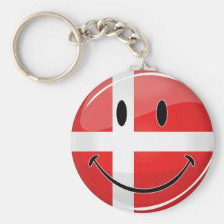Lächelnde Dänemark-Dänische-Flagge Standard Runder Schlüsselanhänger
