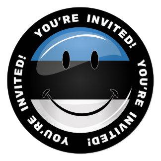 Lächelnde estnische Flagge Quadratische 13,3 Cm Einladungskarte