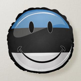Lächelnde estnische Flagge Rundes Kissen