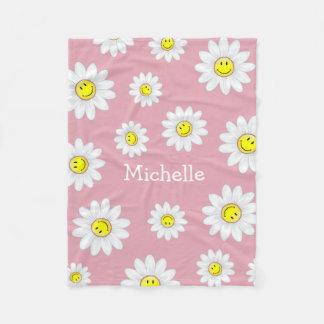 Lächelnde Gänseblümchen-Blume Fleecedecke