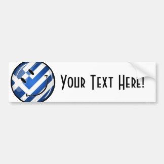 Lächelnde griechische Flagge Autoaufkleber