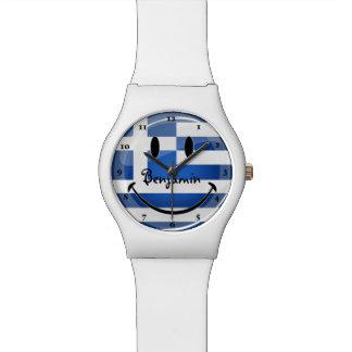 Lächelnde griechische Flagge Uhr