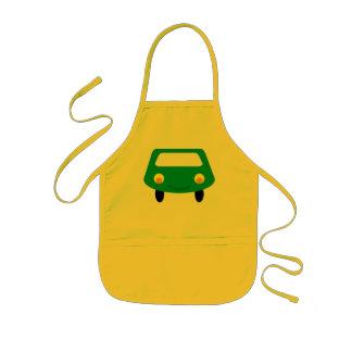 Lächelnde grüne Cartoon-Auto-Schürze Kinderschürze