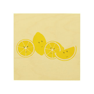 Lächelnde Gruppe Zitronen Holzleinwand