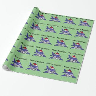 Lächelnde Haifisch-Weihnachtsgeschenk-Verpackung Geschenkpapier