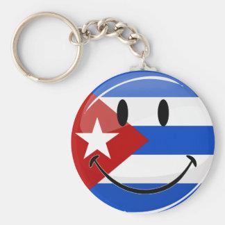 Lächelnde kubanische Flagge Schlüsselanhänger