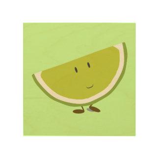 Lächelnde Limone Scheibe Holzdruck