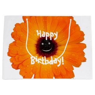 Lächelnde orange Blume Große Geschenktüte